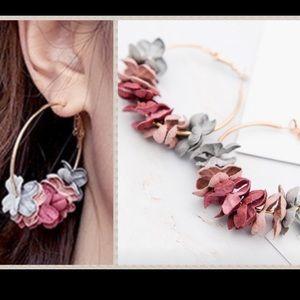LAST! 5 stars! FP multi floral petal hoop earrings
